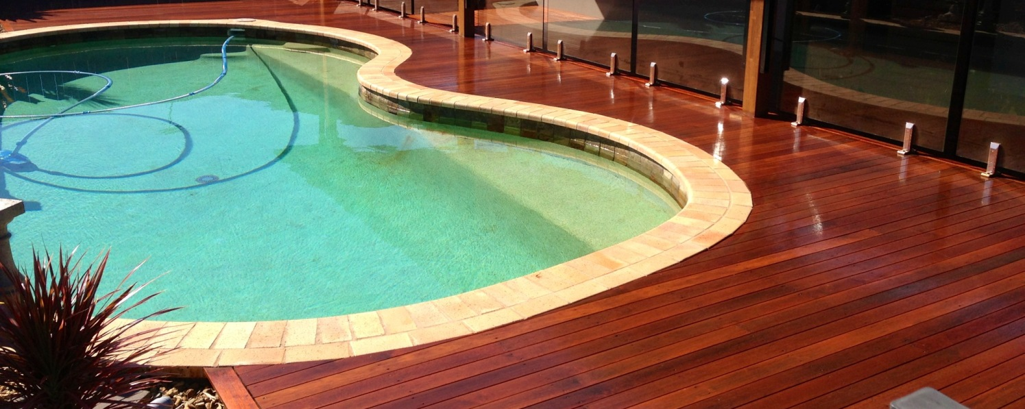 Pool decking oiled